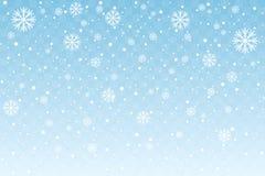 Spada śnieg z stylizowanymi płatkami śniegu odizolowywającymi na błękitnym przejrzystym tle dekoracji świątecznej nowego roku wek ilustracja wektor