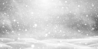 Spada Bożenarodzeniowy piękny śnieg z snowdrifts odizolowywającymi na przejrzystym tle Popielaty błyszczący plakat z zimą royalty ilustracja