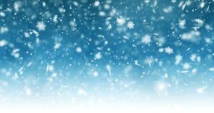 Spada bokeh cząsteczki na jaskrawym błękitnym tle i płatki śniegu Abstrakcjonistyczny nowego roku tło Animacja płatki śniegu ilustracja wektor