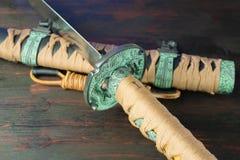 Spada del samurai Armi giapponesi medievali Immagine Stock Libera da Diritti