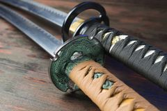 Spada del samurai Armi giapponesi medievali Fotografie Stock Libere da Diritti