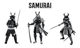 Spada della tenuta del samurai davanti al cerchio rosso, guerriero del Giappone, monoc illustrazione vettoriale