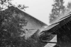 Spada deszcz na dachu zdjęcia royalty free