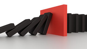Spada domino rząd Z Czerwonym przerwa kawałkiem Na biurku Fotografia Royalty Free