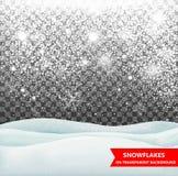 Spada dryfy na przejrzystym tle i śnieg snowfall Boże Narodzenia Płatki śniegu i śniegów dryfy Płatka śniegu wektor Zdjęcia Royalty Free
