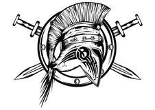 Spada e bordo del casco dei legionari Immagini Stock Libere da Diritti