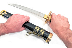 Spada giapponese di katana del samurai isolata Fotografie Stock