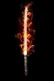Spada giapponese in fiamme Fotografie Stock