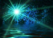 Spada gwiazdy nocy sceny wody mistycznego tła abstrakcjonistyczny zimny błękitny zielonawy zdjęcie stock