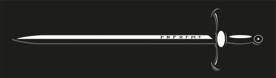 spada Illustrazione di vettore Vista in bianco e nero royalty illustrazione gratis