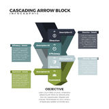 Spadać kaskadą strzała blok Infographic Obraz Royalty Free