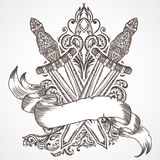 Spada medievale con l'insegna del nastro e l'ornamento floreale Illustrazione disegnata a mano altamente dettagliata floreale d'a Immagine Stock