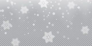 Spada płatka śniegu deseniowy tło biała zimna opad śniegu narzuty tekstura na przejrzystym tle Zimy Xmas śnieg f royalty ilustracja