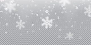 Spada płatka śniegu deseniowy tło biała zimna opad śniegu narzuty tekstura na przejrzystym tle Zimy Xmas śnieg f Obrazy Stock