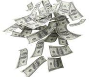 Spada pieniądze $100 rachunki Obraz Royalty Free
