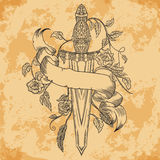 Spada, rose, foglie, piume ed insegna medievali del nastro su fondo di carta invecchiato illustrazione vettoriale