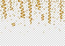 Spada rozjarzeni złoci confetti i realistyczna wisząca serpentyna royalty ilustracja
