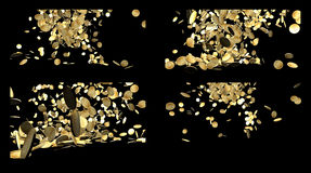 Spada Złociste monety Odizolowywać na czerni Fotografia Stock