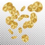 Spada Złociste monety Wektorowe Latający Realistyczny Złoty moneta wybuch tło przejrzysty Kasynowa nagrody pieniężnej pomyślność royalty ilustracja