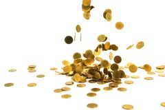 Spada złocistych monet pieniądze na białym tle, busin Obrazy Stock