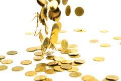 Spada złocistych monet pieniądze odizolowywający na białym tle, busin Zdjęcia Royalty Free