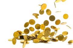 Spada złocistych monet pieniądze odizolowywający na białym tle, busin Obraz Stock