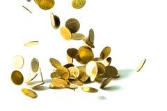 Spada złocistych monet pieniądze odizolowywający na białym tle, busin Zdjęcie Stock