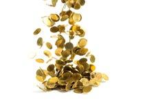 Spada złocistych monet pieniądze odizolowywający na białym tle, busin Obrazy Royalty Free