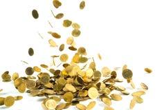 Spada złocistych monet pieniądze odizolowywający na białym tle, busin Obraz Royalty Free