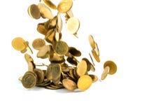 Spada złocistych monet pieniądze odizolowywający na białym tle, busin Zdjęcia Stock