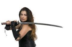 Spadaccino del samurai della donna Immagini Stock Libere da Diritti