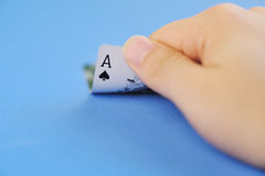 Spade ace in hand Royalty Free Stock Images