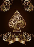 Spade ace poker playing cards Stock Images