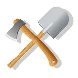 Spade and ax. Vector illustration Stock Images