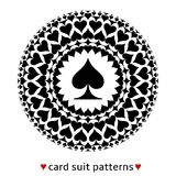 Spade card suit pattern. Fine card suit pattern made from spades. Poker situation when cards are all of the same suit. Looks like a car wheel Royalty Free Stock Images