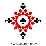 Spade card suit snowflake. Fine spade card suit snowflake. Spade in the middle surrounded with hearts, diamonds and clubs Royalty Free Stock Photo