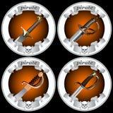 Spade del pirata delle icone Fotografia Stock Libera da Diritti