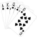 Spade Flush Illustration. Illustration of a Spade Flush, highest natural hand in poker stock illustration