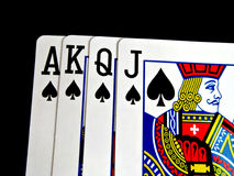 Spade four cards. Isolated on black background Stock Image