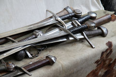 Spade medievali. Some typical swords and other medieval weapons Stock Photos