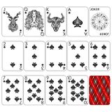 Playing cards series `Zodiac signs`. Spade minemal black suit, joker and back. Background white card royalty free illustration