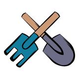 Spade and pitchfork icon cartoon Stock Image