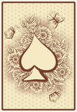 Spade poker vintage playing card, vector Stock Image