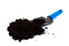 Spade with potting compost Stock Image