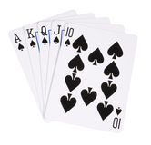 Spade royal flush. Highest hand in poker, royal flush of spades Royalty Free Stock Image
