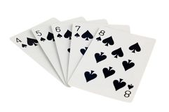 Spade Straight Flush Royalty Free Stock Images