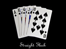 Spade straight flush. Isolated on black background Royalty Free Stock Images