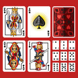 Spade Suit Playing Cards Full Set. Include king queen jack and ace of spade Royalty Free Stock Photo