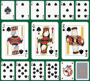 Spade suit. Playing cards spade suit, joker and back. Faces double sized. Green background in a separate level in vector file Stock Photos