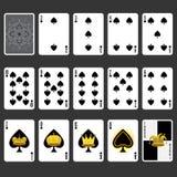 Spadedräkt som spelar den fulla uppsättningen för kort Arkivbild